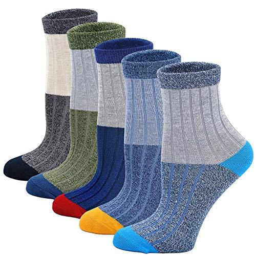 LOFIR Kinder Socken Jungen Strümpfe aus Baumwolle Kleinkind Sneaker Socken Lässige Sport Schulen Laufen Socken Größe 24-29, für 5-7 Jahre, 5 Paare