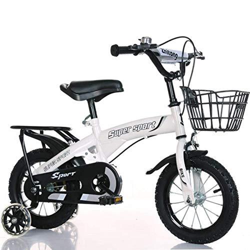 Bicicleta para niños, Bicicleta para niños con ruedas auxiliares intermitentes, Bicicletas lindas para niños con campana y cesta como bien, diseño del asiento trasero, 12, 14, 16, 18 JoinBuy.R
