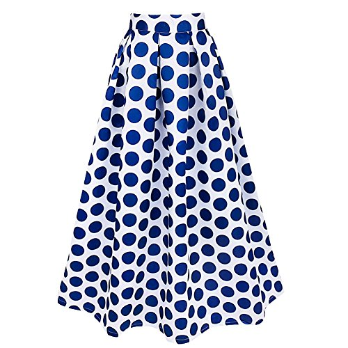 IEFIEL Maxifalda Plisada de Cintura Alta Faldas Largas Elegantes Lunares Grandes para Mujer Azul Oscuro M