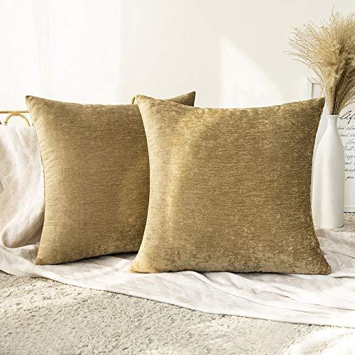 MIULEE 2er Set Kissenbezug aus Chenille Herbst Dekokissen Kissenhülle Sofakissen, mit Verstecktem Reißverschluss Dekoration für Sofa Wohnzimmer Schlafzimmer Bett 40x40 cm Golden