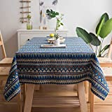 Gravan Bohemian Tablecloth for Rectangle Tables Heavyweight Cotton Linen Boho Style Table Cover for Kitchen Dinning Tabletop Decoration