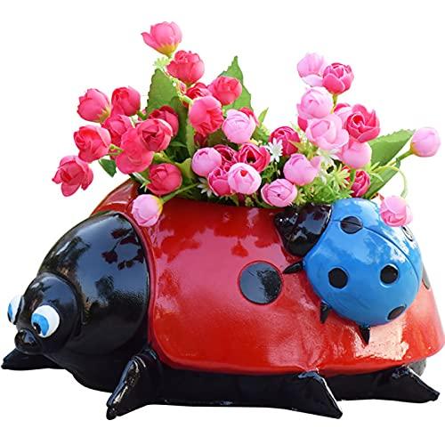 YUWEX Plastik Blumentopf Süß Marienkäfer Pflanzkübel Simulationstier Runder Blumenkübel für Blumen Pflanzen Haus Innen Büro Balkon Geländer
