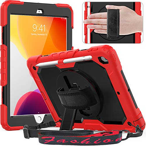 Timecity iPad 10.2 Case, 2020/2019 New iPad 8th/ 7th Generation Case with Screen Protector Pencil Holder, 360° Rotatable Kickstand with Hand/Shoulder Strap,Anti Scratch iPad 8th/ 7th Gen Case, Red