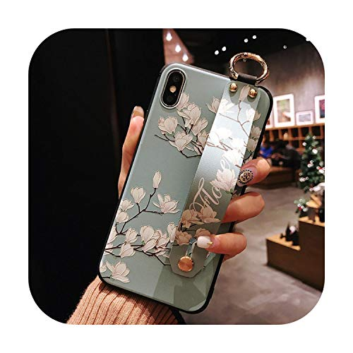 Suave TPU Teléfono Casos Para iPhone 7 8 6 6S Plus 11Pro Max Funda Para iPhone X Xs 11 Pro Max XR SE Cubierta Flor Caso Con Correa De Muñeca