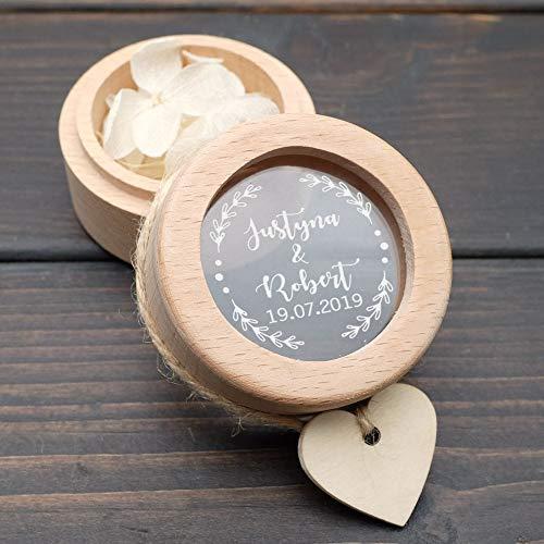 AAJTCT geschenkdoos gebruikersvriendelijke ring-drager-box, gepersonaliseerde huwelijksring-doosje, houten ring-houder-doosje, rustieke bruiloft, individuele initialen & date voor vrouwen