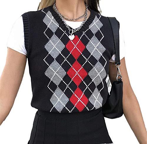 Girls Women Argyle Sweater Vest ...