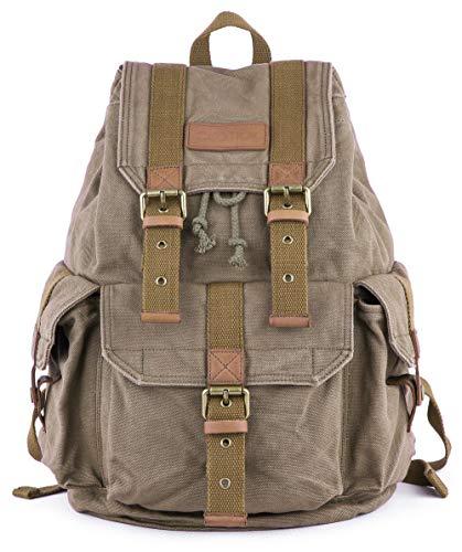 Gootium Canvas Rucksack Backpack Wanderrucksack Vintage Rucksäcke Unisex - Olivgrün-s
