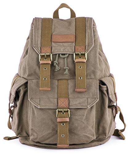 Gootium 21101 Specially High Density Thick Canvas Backpack Rucksack, Army Green, Small