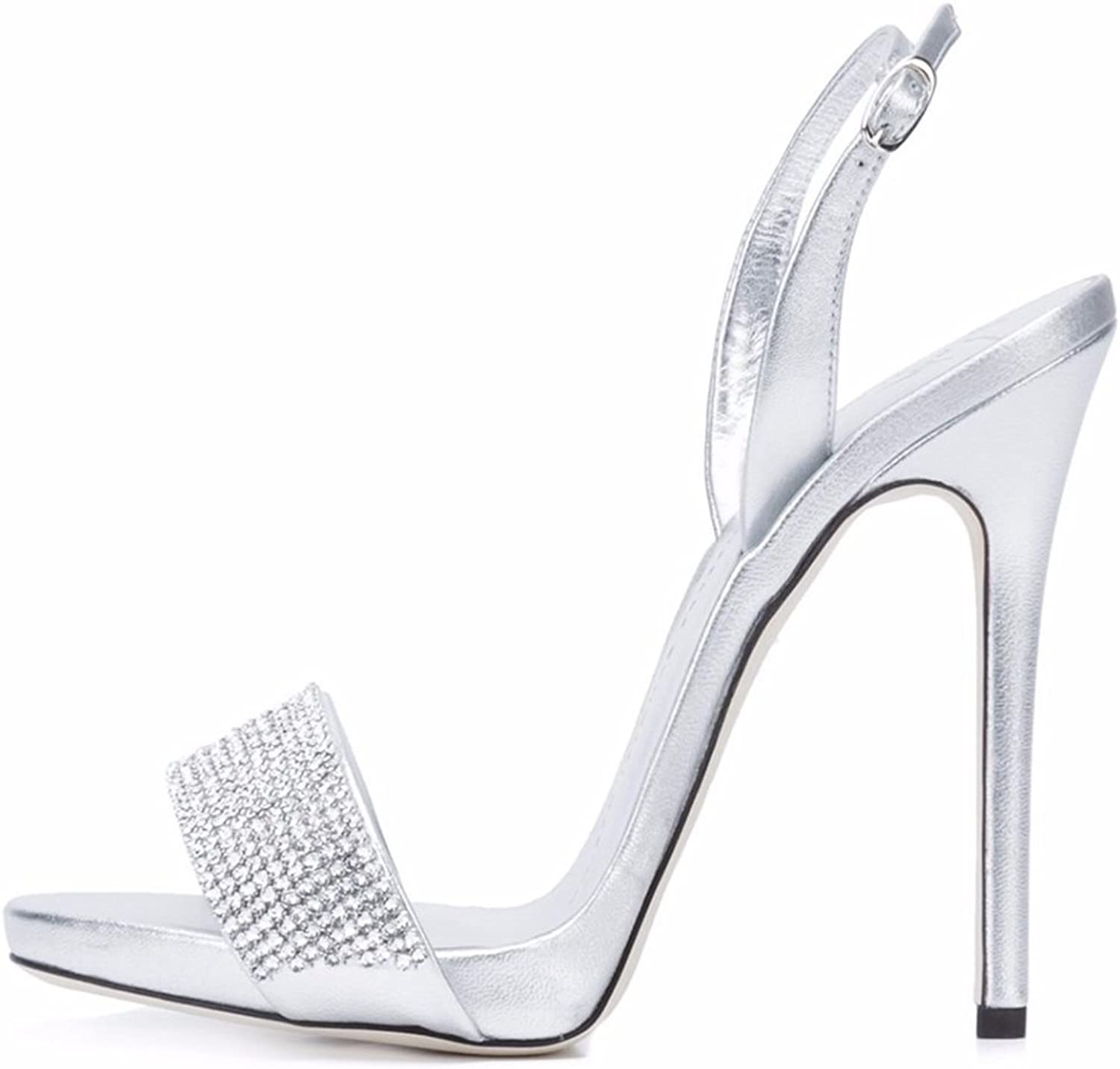 Women's High-Heeled Rhinestone Inlay Sandals Patent Leather Stiletto shoes Party Everyday Wear(Heel Height  12-13cm)