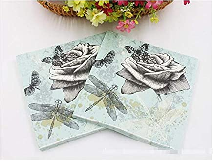 Spacex - Dragonfly Wood Pulp Material And Cocktail Napkins Application 33cm 20pcs Pack Lot - Music