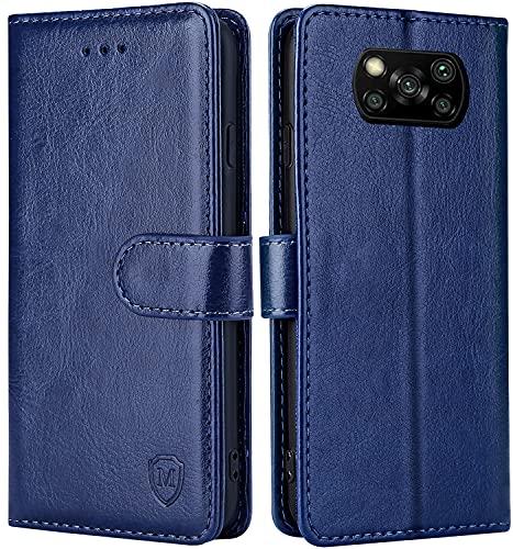 FMPCUON Hülle für Xiaomi Poco X3 NFC/Poco X3 Pro Handyhülle [Standfunktion][Magnetverschluss] Tasche Flip Hülle Schutzhülle lederhülle flip case für Xiaomi Poco X3 NFC Blau