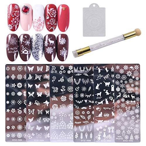 8 Stks Nagel Kunst Stempelen Sjablonen Set, 6 Stampen Nagel Stamp Platen met Nagel Stamper en Nagel Schraper Bloem Dier Patroon Manicure Print Gereedschap voor DIY Nagel Art Ontwerpen