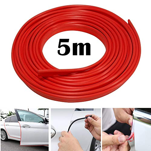 Protector de borde de automóvil Tira de 5M protector de sello de goma de borde de automóvil protector de borde en forma de U, apto para SUV Sedan MPV y la mayoría de los modelos (rojo)