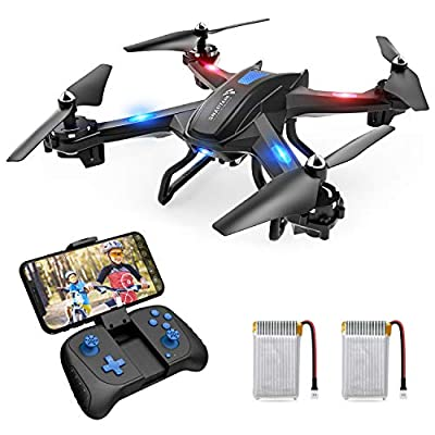 SNAPTAIN S5C Wifi FPV Drone with 720P HD Camera, Best Drone for Beginners with Altitude Hold, Voice Control, Gravity Sensor, Trajectory Flight, 3D Flips, Headless Mode, One Key Return/Take Off/Land with 2 Batteries and Bonus Accessories