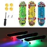 Moverstar 2 Stück LED Mini Skateboard Fingerboard Tech Deck Kinder Spielzeug Geschenke Baby -