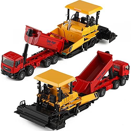 Nuoyazou Juego de coches de juguete para niños, regalo, camión volquete de aleación, pavimentadora, juguete de combinación, modelo de coche de ingeniería, juego de 2 coches, coche de juguete combinado