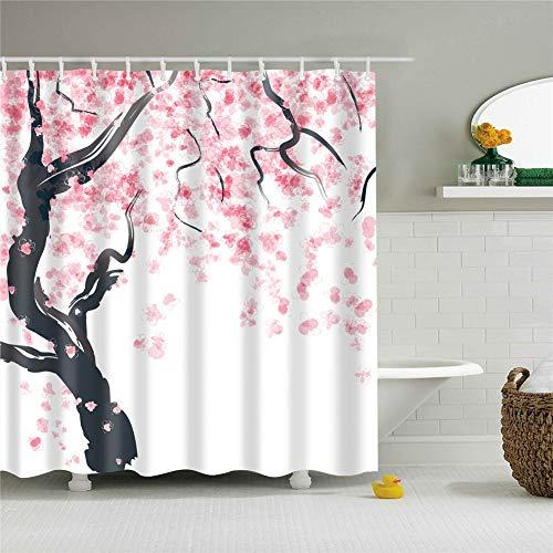 Meiju Duschvorhang, Wasserdicht Waschbar 12 Duschvorhangringe für Badezimmer 3D Digitaldruck Grüne Pflanze mit lebendigen Farben (120x180cm,Kirschblüte)