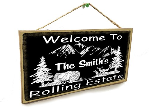 Personalized Welcome to Your Name's Rolling Estate 5' x 10' Sign Plaque Camper Camping Custom