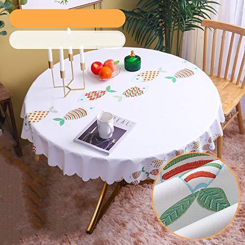 marca blanca Pequeño rectangular empalmado a rayas mantel de algodón lino de la mesa auxiliar de la cocina de la sala de estar decoración redonda 80 cm