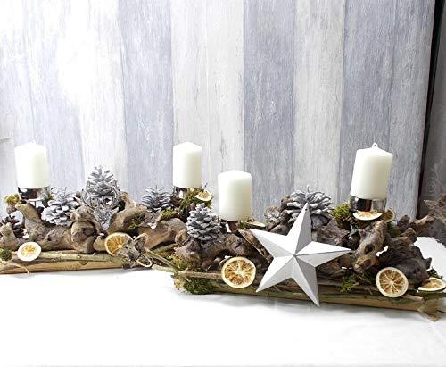 Adventskranz 2 teilig, rechteckig, Tischkranz, Weihnachten, Adventsdeko,