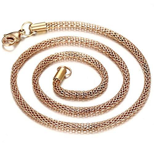 Epinki Titanio Collar para Hombre Cadena de Malla Oro Collar