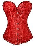 EZSTAX - Corsé de encaje para el vientre, estilo vintage, corpiño, para mujer rojo S