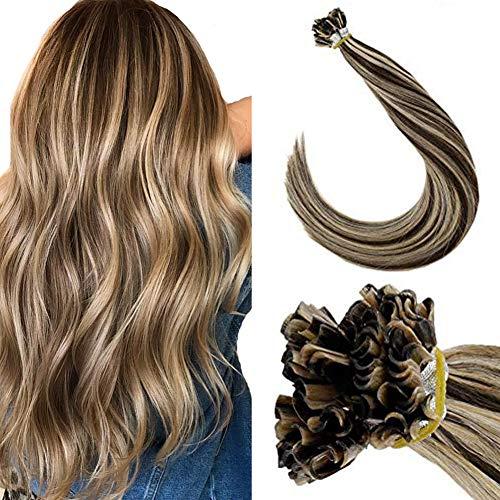 "LaaVoo UTip Human Hair Extensions Salon Style U Tip Hair Extensions Remy Straight Nail Tip Hair With Italian Glue 50g/50strands 18"" Dark Brown Blonde"