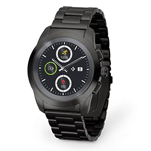 MyKronoz ZeTime Elite hybride Smartwatch 39mm mit mechanischen Zeigern über einen runden Farbtouchscreen – Petite Matt Schwarz / Metall Link