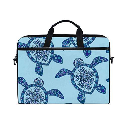Ahomy 14 Zoll Laptop Tasche Cartoon Sea Turtle Blue Mehndi Style Canvas Stoff Laptop Tasche Bussiness Handtasche mit Schultergurt für Damen und Herren
