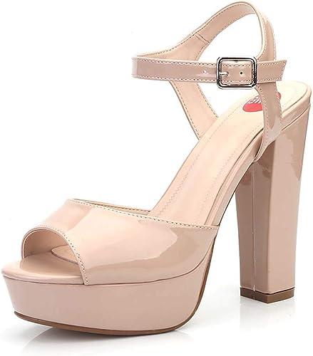 Sandales pour Les Les dames, Mode Europe Et Amérique Chaussures pour Femmes Mot Sauvage 13Cm D'épaisseur Super Talon Haut Chaussures De Grande Taille