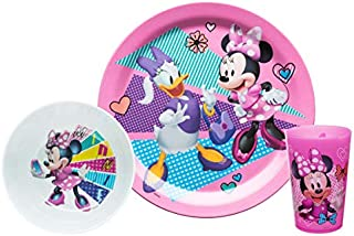 Zak Designs Disney Kids Dinnerware Set Includes Plate, Bowl, and Tumbler, Made of Durable Material and Perfect for Kids (Minnie Mouse & Daisy, 3 Piece Set, BPA-Free)