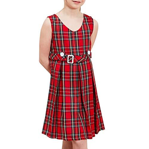 Girls Dress Red Tartan Button Back School Pleated Hem Size 8
