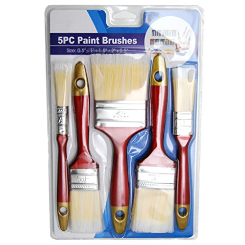 Hometeq - (5 Pack) 2.5', 2', 1.5', 1', 0.5' Paint Brushes Designed Latex or Oil Based Paints for Indoor or Outdoor with Comport Handle (C)