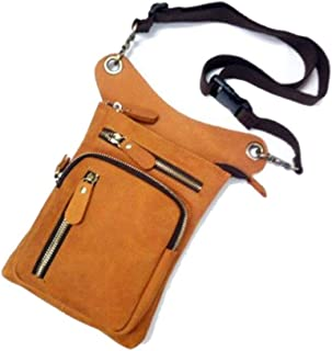 Genuine Leather Messenger Crossbody Shoulder Bags for Men Travel Belt Fanny Pack Motorcycle Thigh Drop Leg Bag Male Waist Bags (Color : Yellow, Size : S)