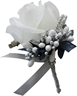 FLAMEER Artificial Silk Rose Corsage/Boutonnieres, Romantic Wedding Rose Flower Corsage Groom Best Man Boutonniere Party Decoration - White and Silver Gray