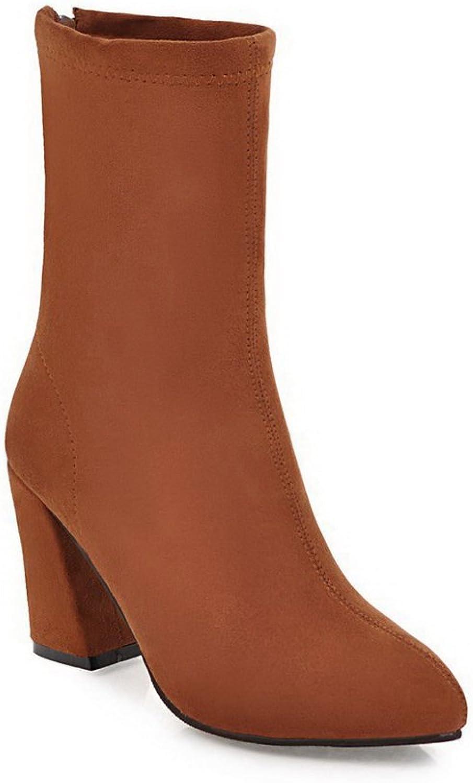 BalaMasa Womens Solid Mid-Calf Zipper Chunky Heels Suede Boots ABL10621
