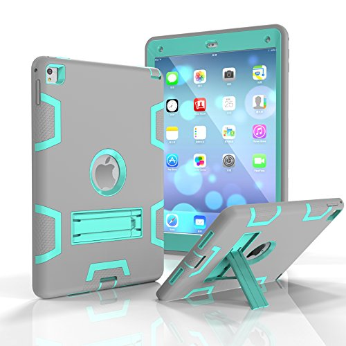 iPad Air 2 Case, iPad Pro 9.7 2016 Case, Fizze Three Layer PC & Silicon High Impact Hybrid Drop Proof Armor Full Body Protective Case With Kickstand for iPad Pro 9.7 Inch 2016/ iPad Air 2 (iPad 6)