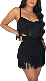 Womens Sexy 2 Piece Outfits Sleeveless Crop Top Feather Tassels Bodycon Mini Dress Outfits Clubwear