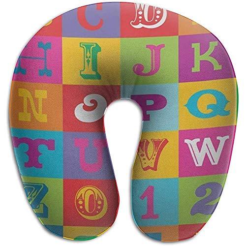 Kussen, Kleurrijk Alfabet ABC en cijfers U Vormige Kussen Memory Foam Neck Kussen voor Trein Reizen Rest