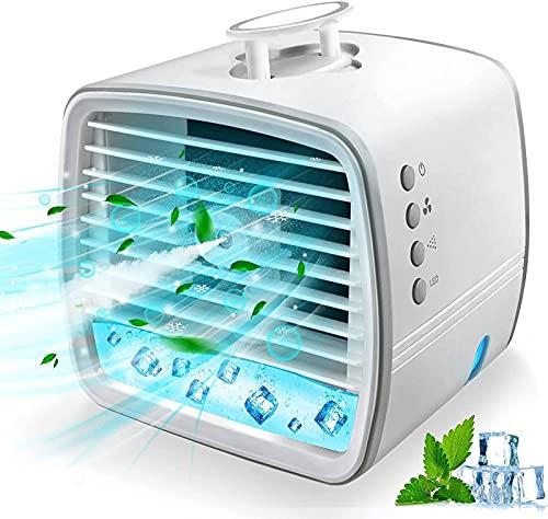 GCFG Aire Acondicionado portátil, Mini Aire Acondicionado Cuatro en uno, humidificador y luz Nocturna de 7 Colores con 3 velocidades Ajustables, Adecuado para Uso doméstico