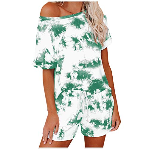 Xniral Damen Pyjama Schlafanzug Kurz Tie-Dye Bedruckte Nachtwäsche Nachthemd Hausanzug Set Kurzarm Rundhals-Ausschnitt für Sommer(h Grün,L)