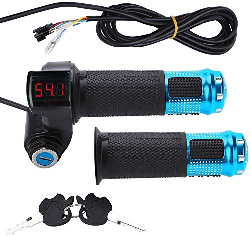 Throttle Grip Handlebar, Universal Throttle Control Grips Cover with LED Display 3 Gears Speed Switch and Power Key Locker Accelerator for Electric Bike Scooter Tricycle (Blue)