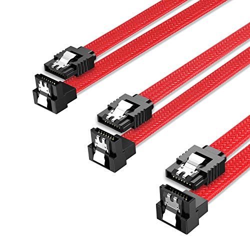 QIVYNSRY 3PACK SATA Cable III 3 Pack 90 Degree Straight to Right Angle...