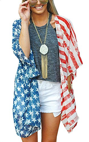 4th of July Women's American Flag Print Kimono Cover Up Tops Shirt Patriotic Cardigan (one Size, Picture Color)