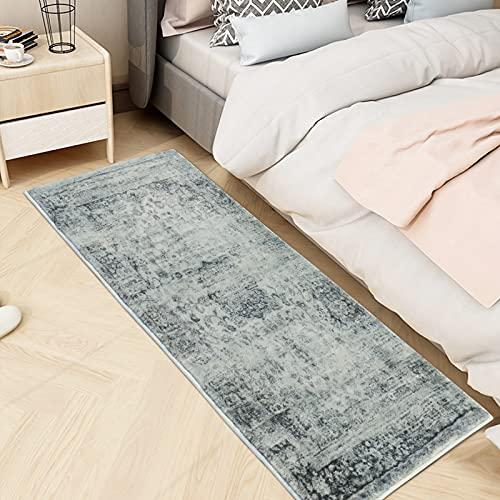 Alfombra de pasillo suave para dormitorio, dormitorio, comedor, salón, parte inferior antideslizante (vintage, 60 x 180 cm)
