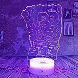 XINRUIBO Cartoon Spongebob 3D-Nachtlicht-Lampen Gradient 7 Farbe LED-Licht USB-Baby-Schlaf-Lampen-Hauptdekor-Geschenke Spongebob plüschtier