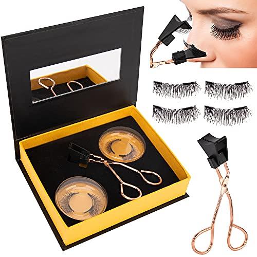 Premium Magnetic Eyelashes, Magnetic Eyelashes Full Eye with Tweezers, Glue-free Magnetic Eyelash Clip & Eyelashes Set with 2 Pairs Soft Magnetic False Eyelashes Natural Looking, Natural Look Reusable
