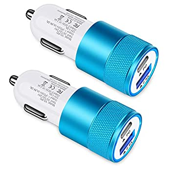 30W USB C Car Charger [2Pack] 3.0 Fast Charge Dual Port USB Type C and 2.4a USB A Cargador Carro Lighter Adapter for iPhone,Tablet iPad Samsung Galaxy LG Google Pixel GPS Z Play Droid Motorola