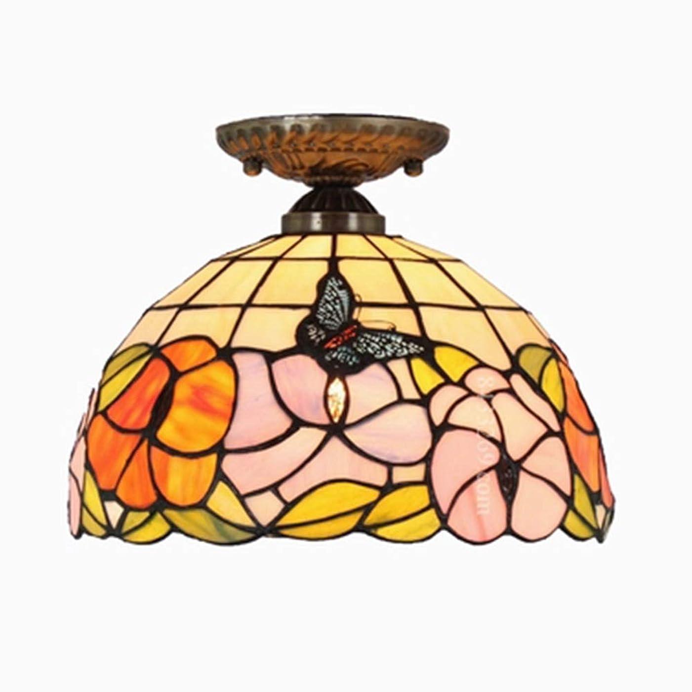 拍手精神スペシャリスト手作りの天井ランプステンドグラスフラワーデザイン柄、12インチ人気スタイルガラス天井ランプ用家の装飾