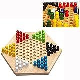 Cisixin Jeu de Dames - Hexagon Traditionnelle en Bois Chinois Famille Checkers Game Set
